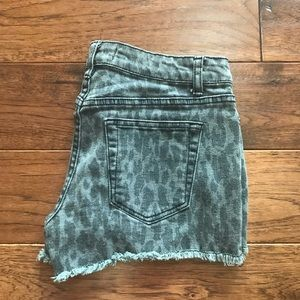 F21 Premium Denim Leopard Print Grey Black Shorts